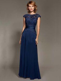 A-Line/Princess Short Sleeves Jewel Applique Chiffon Floor-Length Dresses