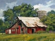 """Himsworth, Jim - Daily Paintworks - """"Aging Gracefully"""" - Original Fine Art for Sale - © Jim Himsworth Watercolor Landscape, Landscape Art, Landscape Paintings, Watercolor Art, Farm Paintings, Scenery Paintings, Barn Pictures, Pictures To Paint, Red Barn Painting"""