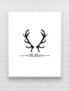Oh Deer Christmas Wall Decor, Printable Typographic Art Print, Scandinavian Poster,Cabin Decor, Inspirational Print, Christmas Hostess Gift
