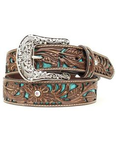 Ariat Tooled Turquoise Leather Inlay Belt!! This is the one I went with for now. Love it. Matches my boots. Its the tits!