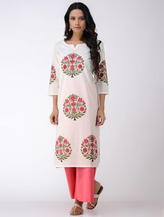 Buy Ivory Peach Block printed Cambric Kurta with Pants (Set of 2) Cotton Women Kurtas Floral Essence and dupattas to keep cool in Online at Jaypore.com