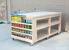 Learn how to build a DIY Mobile Workbench with Shelves and storage for quarts of paint and stain. Add a clamp track and magnetic strips to hold stray bits.