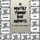 Year Long Monthly Themed Book Reports - differentiated by activity (paid product)