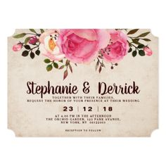 Rustic Country Classy Floral Wedding invitation - rustic country gifts style ideas diy