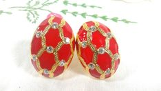Vintage 80 s Earrings Golden Rhinestones & Red Enamel Clips on 80s Jewelry, Vintage Jewelry, Unique Jewelry, 80s Earrings, 80s Fashion, Craft Items, Rhinestones, Enamel, Pinterest Board