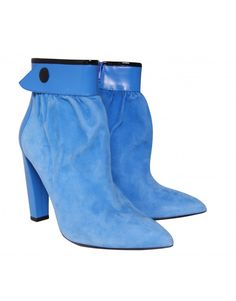 side front Balenciaga Suede, Shoes For Less, Suede Ankle Boots, Designer Shoes, Heeled Mules, Footwear, Heels, Blue, Fashion