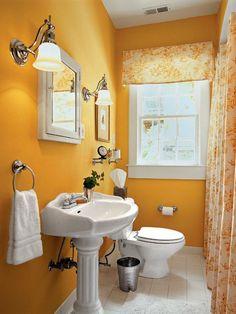 Love This Yellow So Happy And Warm Small Bathroom Decorating Ideas  Small And Functional Bathroom Design Ideas For Cozy Homes