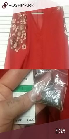 Stunning long sleeve embellished red shirt Beautiful embellished long sleeve red shirt! Never worn! Still have tags and extra bottoms and etc. My phone don't take pictures good enough to do this top justice.  Honestly stunning piece! Tops Blouses