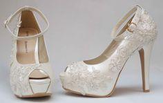 Zapatos de Novia, Rodrigo Hernández Color Ivory con Encaje Búscanos en Facebook Rodrigo Hernandez