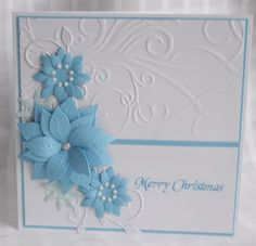 card with blue poinsettia on white - layout - bjl