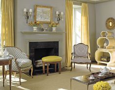 #Soft gray walls, furniture with pops of of #bright yellow