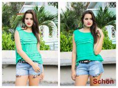 Look (blusa em viscose + shorts detalhe print).