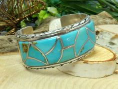 Vintage Norman Lee Navajo Sterling Silver & Turquoise Inlay Cuff Bracelet!! #NormanLee