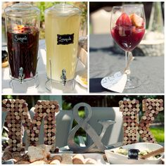 wine and cheese bridal shower. Sangria. Cork monogram letters. Bridal shower décor. Popular with the Poplins
