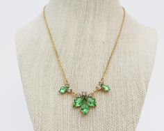 Green Rhinestone Necklace  Vintage 1950s by TheBirdcageVintage