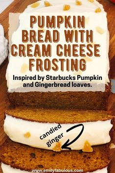 This Pumpkin Bread with Cream Cheese Icing recipe is moist, full of flavor and so easy to make! A Starbucks Copycat pumpkin loaf inspired by 2 different Starbucks treats: the Pumpkin loaf and the Gingerbread loaf. Made with pumpkin puree, applesauce, and a mixture of spices in addition to the cream cheese frosting, everyone will love this treat! #pumpkinbreadrecipe, #moistpumpkinbread, #easypumpkinbread, #pumpkinbreadwithcreamcheese, #pumpkinbreadstarbuckscopycat Baking Tips, Baking Recipes, Cake Recipes, Dessert Recipes, Pumpkin Loaf, Moist Pumpkin Bread, Starbucks Pumpkin, Cream Cheese Frosting, Kid Friendly Meals