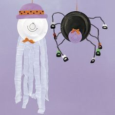 halloween crafts for preschoolers - paper plate ghost and spider
