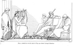 Demodocus : narrates the quarrel of Odysseus and Achilles; the love of Ares and Aphrodite; the Trojan Horse in Book 8