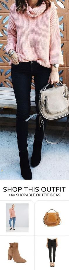 #winter #fashion / Pink Wool Knit / Black Skinny Jeans / Black Boots