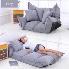 Loungie Cloudy Foam Lounge Chair Convertible Bean Bag