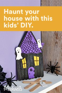 This project is intended for kids ages 3+. Make your very own spooky haunted house this Halloween. All you need are some craft sticks and your imagination! Halloween Arts And Crafts, Fall Crafts For Kids, Halloween Projects, Diy Halloween Decorations, Craft Activities For Kids, Toddler Crafts, Preschool Crafts, Halloween Fun, Holiday Crafts