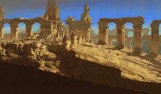 Ruins 02 on Behance Fantasy Art Landscapes, Fantasy Landscape, Fantasy Castle, Fantasy Setting, Environment Concept Art, Lost City, Environmental Art, Landscape Lighting, Sci Fi Fantasy