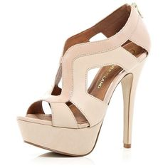 River Island Light pink cut out platform sandals ($98) found on Polyvore