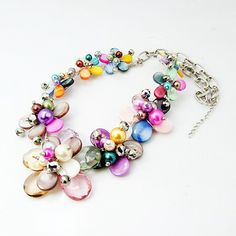 Fashion Shell Necklaces, with Acrylic Pearl Beads, Glass Pearl Beads