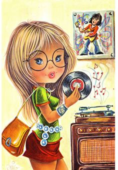 Vintage Illustrations Vintage Postcard, A Big Eyed Girl Playing her favorite Record Vintage Pictures, Vintage Images, Vintage Art, Vintage Girls, Vintage Children, Cute Images, Cute Pictures, Eye Art, Cute Illustration