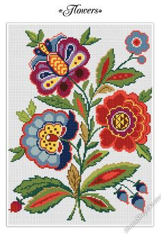 This cross stitch pattern with beautiful flowers will be nice home decor! This digital PDF counted cross stitch pattern is an instant download so you can start stitching today! Pattern Info: - Fabric: white Aida; - Size: 130 x 180 stitches; - Stitches required: full cross stitches