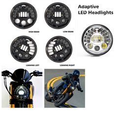 """87.10$  Buy here - http://ali1xr.worldwells.pw/go.php?t=32782730993 - """"7"""""""" Adaptive Motorcycle LED Headlights Round Projector Headlamp DRL Parking lamp Turn Signal Light For Harley Moto Accessories"""" 87.10$"""