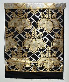 Obi, mid-20th c., Japanese, silk, metallic thread
