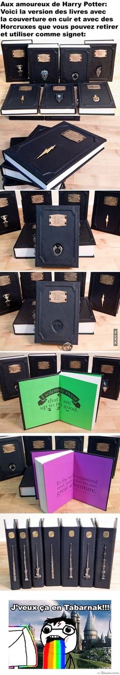 Leather Harry Potter Books with Detachable Horcruxes Used as a Bookmark – Québec Meme + by hterice Objet Harry Potter, Classe Harry Potter, Harry Potter Decor, Harry Potter Anime, Harry Potter Facts, Harry Potter World, Slytherin Pride, Hogwarts, Whatsapp Spy