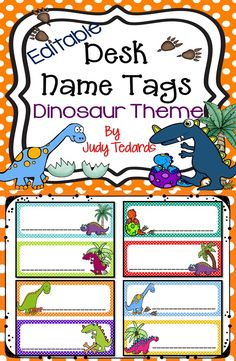 """These cute dinosaur desk name tags are perfect for your classroom desks. They are editable so you can type your students' names and then copy to put on the students' desks. I have included these in my """"Back to School (Dinosaur Theme) Bundle if you are looking for additional Dinosaur themed material."""