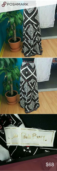 Jens Pirate Booty flamenco maxi skirt Spanish Tile New! No tags.  100% Rayon Hand Wash or Dry Clean Model is 5′ 9″ easy to style for autumn/winter. Pair back with your fav vintage tee and leather boots Jen's Pirate Booty Dresses Maxi