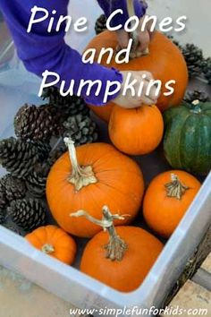 Fall gross motor play with pine cones and pumpkins -repinned by @PediaStaff – Please Visit ht.ly/63sNtfor all our pediatric therapy pins