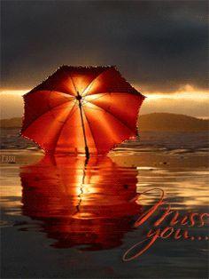 Зонтик на берегу (Miss you...) - анимация на телефон №1051233
