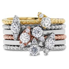 AERIAL Stackable Rings #heartsonfire #hof available at Trewarne Jewellery in Melbourne Australia.