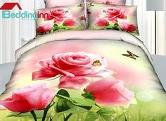 Quality Beautiful Pink Roses and Butterfly Print 4 Piece Bedding Sets  Buy link>>>http://urlend.com/B7RzmaILive a better life, start with Beddinginn http://www.beddinginn.com/product/New-Arrival-High-Quality-Beautiful-Pink-Roses-And-Butterfly-Print-4-Piece-Bedding-Sets-10843654.html