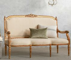 Vintage Gilt Scalloped Louis XVI French Style Square Back Settee.FrenchGardenHouse.com