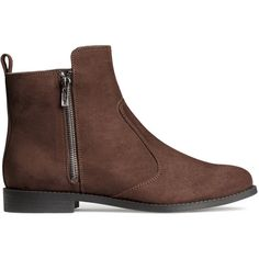 H&M Ankle boots ($17) ❤ liked on Polyvore featuring shoes, boots, ankle booties, ankle boots, h&m, brown, brown ankle booties, zipper booties, short brown boots and ankle bootie boots