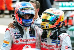 Jenson Button and Lewis Hamilton return to parc ferme after the race | Formula 1 photos | ESPN F1