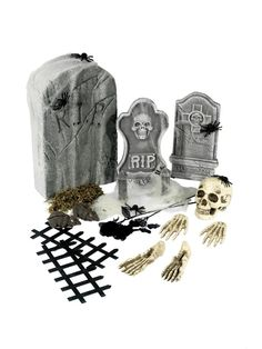 24 Piece Graveyard Collection, with Tombstones and Accessories