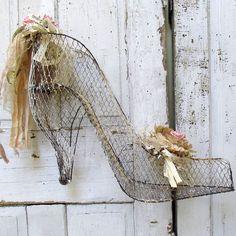 Huge wire mesh high heel shoe sculpture shabby cottage chic large ladies metal shoe decoration home decor anita spero design