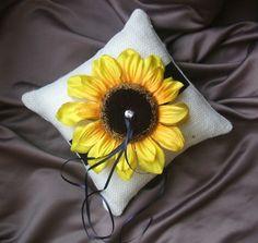 For the rings Baby Wedding, Plan My Wedding, Wedding Stuff, Wedding Flowers, Wedding Planning, Dream Wedding, Wedding Ideas, Burlap Ring Pillows, Sunflower Ring