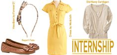 Yellow is popping up everywhere this summer. Work it into your internship attire with a golden shirt dress.
