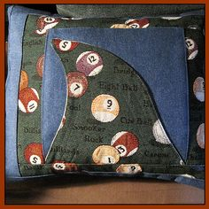 Pool Shark Denim Pillow Cover   thesunnysidebiz - Housewares on ArtFire