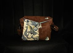 Vegan Suede and Tattoo fabric Handbag by FloraMoonDesigns on Etsy