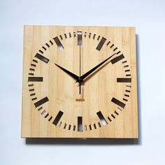 Bamboo Unique Wall Clock   Square Index by HOMELOO on Etsy, $39.99