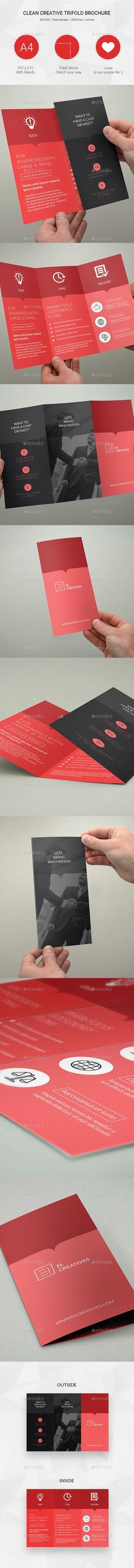 Clean Multipurpose Trifold Brochure PSD Template #design Download…